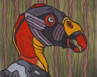 Original Colorful King Vulture Acrylic Painting on Poplar Wood