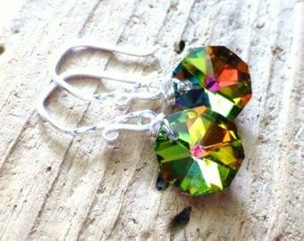 Green & Yellow Prism Earrings, Glass Octagon Briolettes, Sterling Silver, Wire Wrapped, Rainbow Earrings, Fall, Autumn