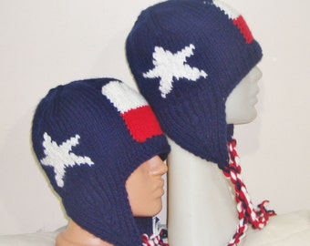 Men's Hat - Women's Hat - Texas Flag - Blue Red White - Hand Knit Hat - Texas Clothing - Winter Hat