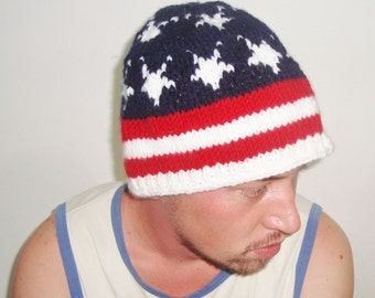American Flag Beanie Hat / Big Mens Hat / Hand Knitted / Gifts for Mens Fourth of July gift