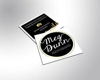 Gold Foil Square Business Cards with Silk Laminate