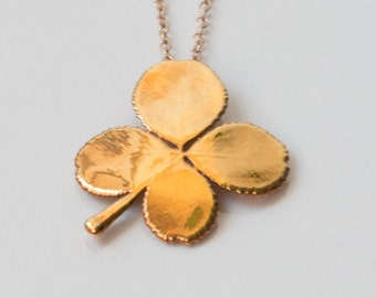 Real Four Leaf Clover Necklace Dipped in 24kt Gold