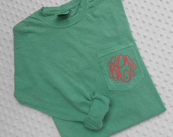Sale ...Monogrammed Comfort Colors Adult  LONG Sleeve Pocket  Shirt