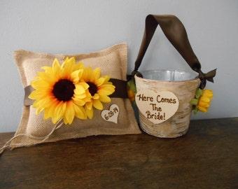Rustic Flower Girl Basket, Burlap Ring Bearer Pillow SET Natural Birch Bark YOU CUSTOMIZE