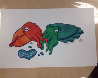 Cuddle Fish print by Erika Moen, signed with tiny sketch.