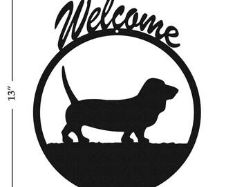 Dog Basset Hound Black Metal Welcome Sign