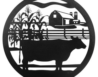 Hand Made Farm Meat Cow Scenic Art Wall Design *NEW*