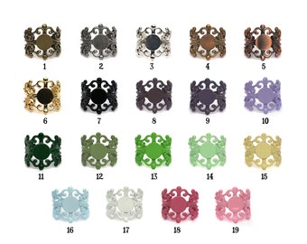 19 Color Choices Our Original Adjustable Filigree Ring Base with Pad TOP QUALITY the best available Extra Wide 20mm Set of 4