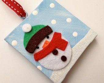 Personalized felt snowman Christmas ornament