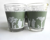 Retro Jeanette Glass Hellenic Green Shot Glasses Set of Four