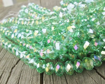 Tiaria Crystal Spring Green Faceted Rondelle Beads 8x5mm