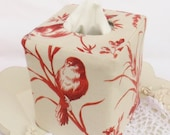 Red aviary linen reversible tissue box cover