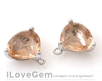 SALE 20% off // 10pcs of NP-993 Rhodium Plated, Trilliant Cut, Peach, Champagne, Glass pendant