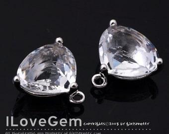 SALE 20% off // 10pcs of NP-993 Rhodium Plated, Trilliant Cut, Clear, Glass pendant