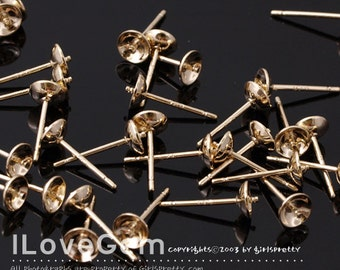 NP-1563 Gold plated, 5mm cup with peg, Earrings, 925 sterling silver post, 4pcs