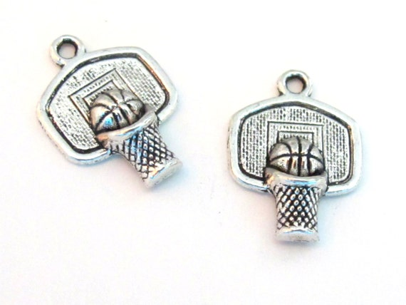 8 - Basketball sport charms antiqued silver color -  CM066
