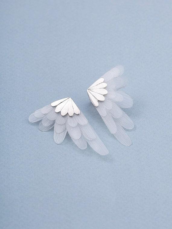 Stud Wing Earrings - stud earrings , wings earrings , silver earrings , fantasy earrings