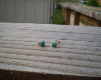 Green Kingman Mine Turquoise Stud Earrings 5mm