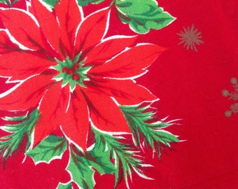 Vintage 1960s Poinsettia  Tablecloth - Rectangle 70 x 50