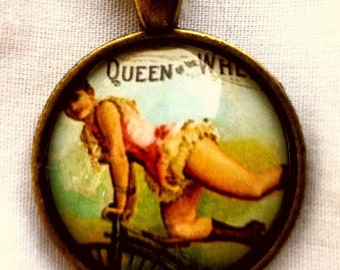 Clearance Vintage Queen of the Wheel Glass Cameo pendant with chain