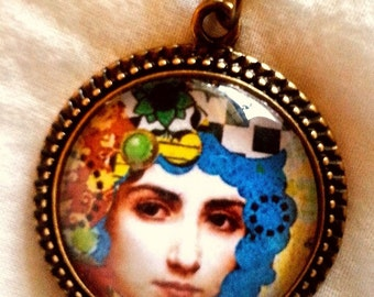 CLEARANCE Colorful Steampunk Girl  Glass Cameo pendant with chain