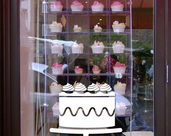 """8.5"""" H by 8.5""""W  Beautiful Cake vinyl sticker decal  for bakery shop"""