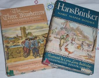 Illustrated Junior Library books Hans Brinker & Three Musketeers vintage forties NEW PRICE