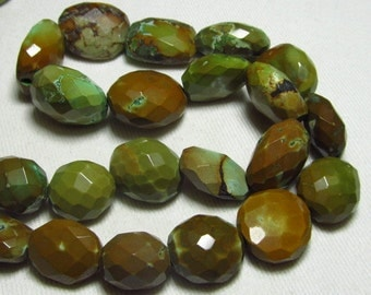 18 inches Long Full Strand Natural -TIBETAN Tourquise - Old Looking Faceted Nuggest Gorgeous High Quality Huge Size 12 - 17 mm approx 32 pcs