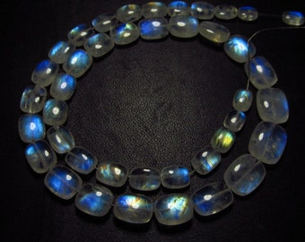 14 inches - AAAA  High Quality Rainbow Moonstone Smooth Polished Cushion shape Briolettes Blue strong Fire size - 5x7 - 9x11.5 mm - 41 pcs