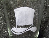 Top Hat etched XL shot glass