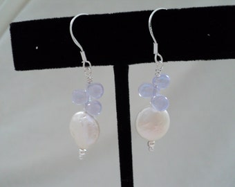 Coin Pearl, Lavender Drops and Sterling Silver Earrings