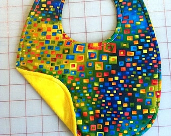 Geometric Shapes  and Bright Colored Baby Bibs  Reversible and Waterproof