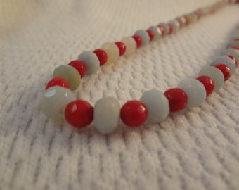 Genuine Amazonite and Red Coral Necklace and Earring Set - F058
