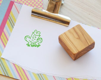Cheeky Little Frog Olive Wood Stamp