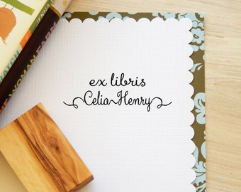 Simply Stylish Ex Libris Olive Wood Stamp