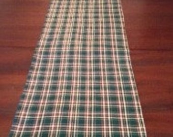 Green plaid table runner, ready to ship