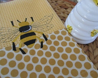 Napoleonic Bee (Butter) - Retro Geo Fabric Edging - Microfiber Waffle Weave Kitchen Towel