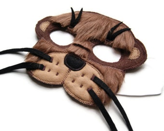 Otter Mask, Woodland Animal Fur Mask, Animal Birthday Party Favor, Children's Halloween Costume, Adult Mas
