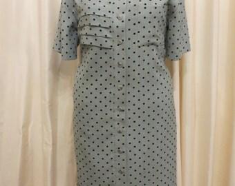 Vintage 1980s Large Olive Green and Black Polka Dot Office Business Work Dress Australia