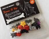 Dress it up halloween buttons - around 20 buttons - ghosts, bats, stars, gravestones etc - original packaging - dress it up Fright Night