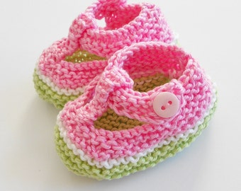 Girl baby t bar shoes - light pink/ white/ pistachio green hand knit baby shoes, light green gift bag check gift tag - made to order