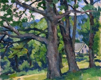 Summer Trees Berkshires. Small Original Plein Air American Impressionist Oil on Panel, 6x7 Signed Original Oil Painting Landscape,