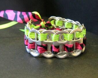 Recycled Soda Pop Can Tab Black Light Bracelet Tiger Stripes