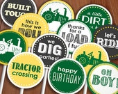 TRACTOR BIRTHDAY Cupcake Toppers & Party Circles in Green and Yellow- Instant Printable Download