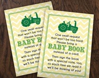 BRING A BOOK Baby Shower Tractor Insert Card in Green and Yellow - Instant Printable Download