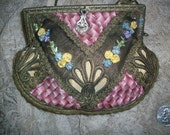 Ribbon work purse is stunning.  silk ribbon work and metal bullion trimmed
