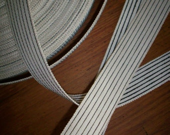 antique striped grosgrain black and white ribbon 7/8 ""