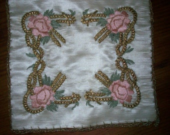 1 Luscious pink and gold doily for your table or to frame