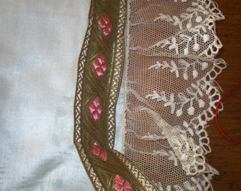 1 yard of french antique gold/deep rose trim, yardage