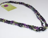 SALE 20% OFF; Crochet Necklace in Bright Purple Lime and Black Ladder Yarn for Women and Teen Girls